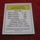 2004 Monopoly Board Game Piece: Ventnor Ave Title Deed