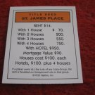 2004 Monopoly Board Game Piece: St. James Place Title Deed