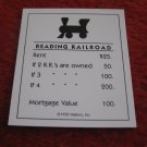 2004 Monopoly Board Game Piece: Reading Railroad Title Deed