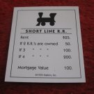 2004 Monopoly Board Game Piece: Short Line Railroad Title Deed