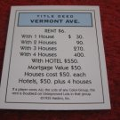 2004 Monopoly Board Game Piece: Vermont Ave Title Deed
