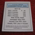 2004 Monopoly Board Game Piece: Connecticut Ave Title Deed