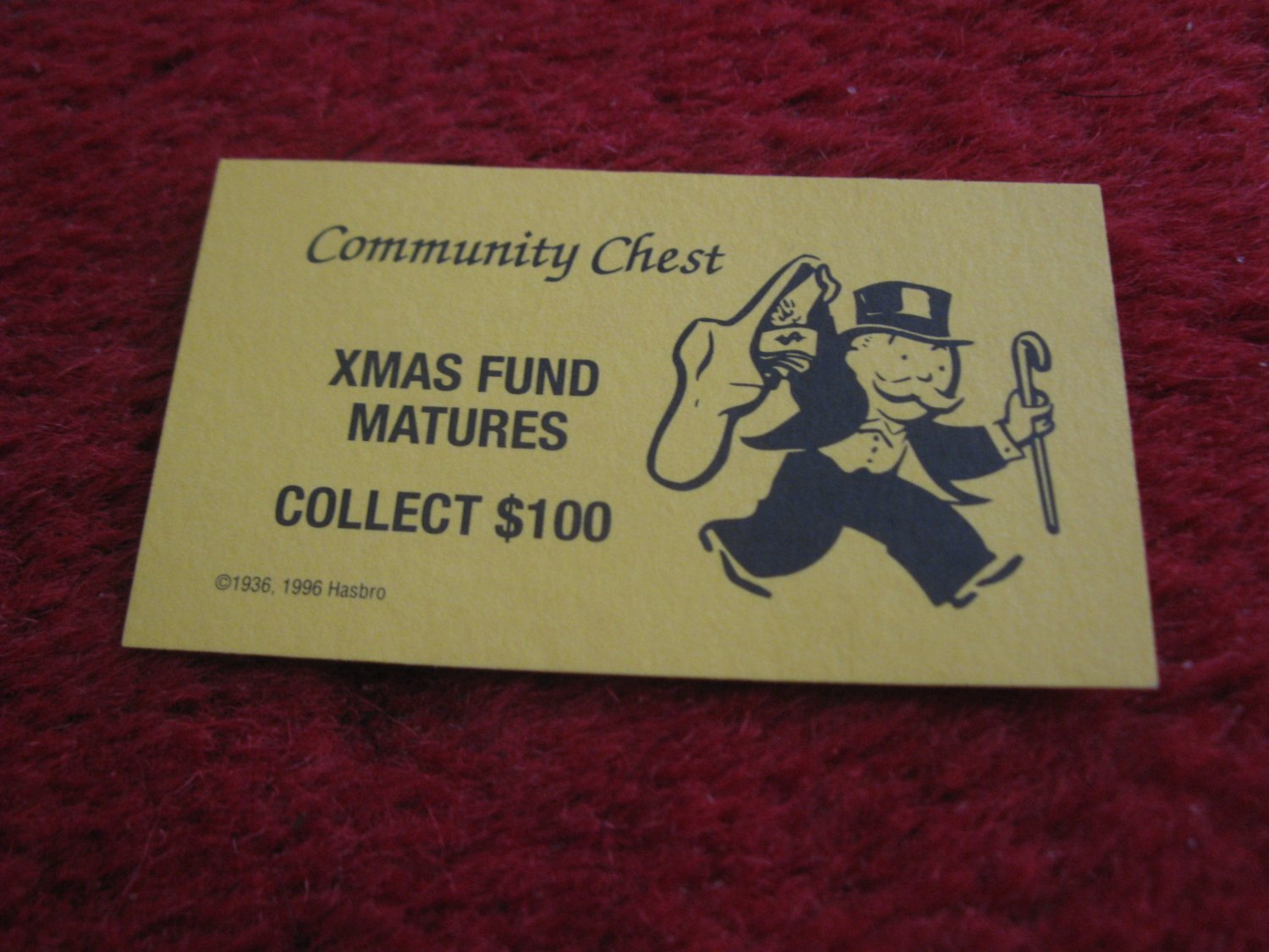 2004 Monopoly Board Game Piece: Xmas Fund Matures Community Chest Card