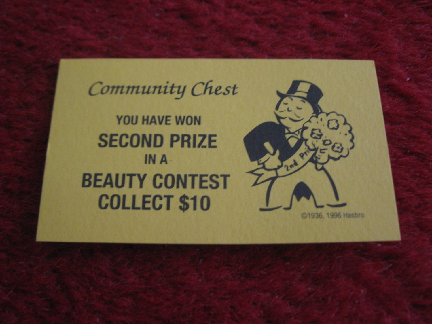 2004 Monopoly Board Game Piece: Beauty Contest Community Chest Card