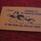 2004 Monopoly Board Game Piece: Advance To St. Charles Place Chance Card