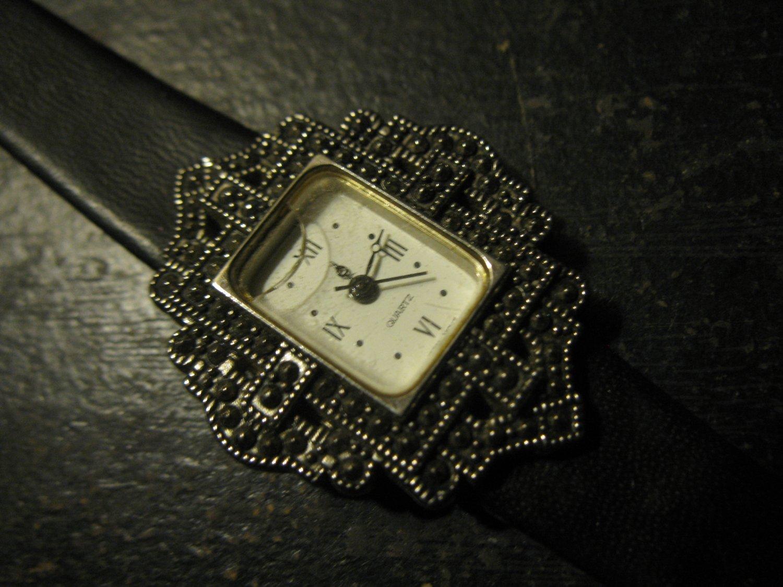 Avon Watch - nice jeweled art deco style - black band