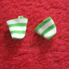 vintage 1980's Strawberry Shortcake Doll clothing accessory: green / white Socks