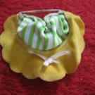 vintage 1980's Strawberry Shortcake Doll clothing accessory: Green/ White Striped Hat