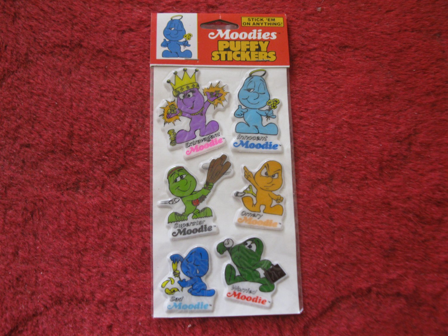 1983 Kent Toys Moodies Puffy Stickers (red top card)- Factory Sealed, Never Opened