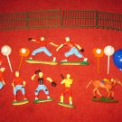 vintage lot of 1960's Baseball Themed Hand Painted Plastic Birthday Cake toppers, full set..