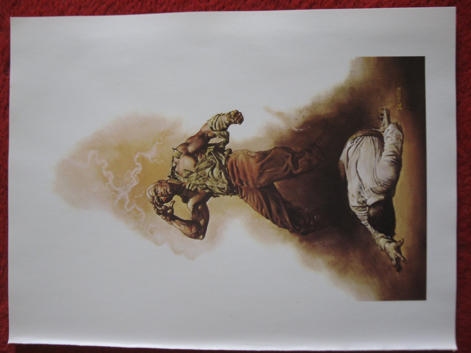 "vintage Boris Vallejo: The Boss of Terror, Doc Savage - 11.5"" x 8.5"" Book Plate Print"