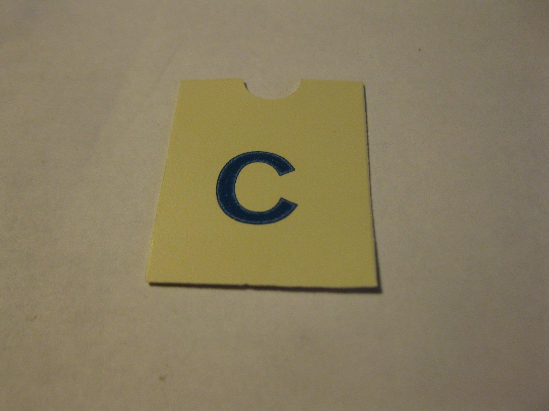 1967 4CYTE Board Game Piece: Blue Letter Tab - C