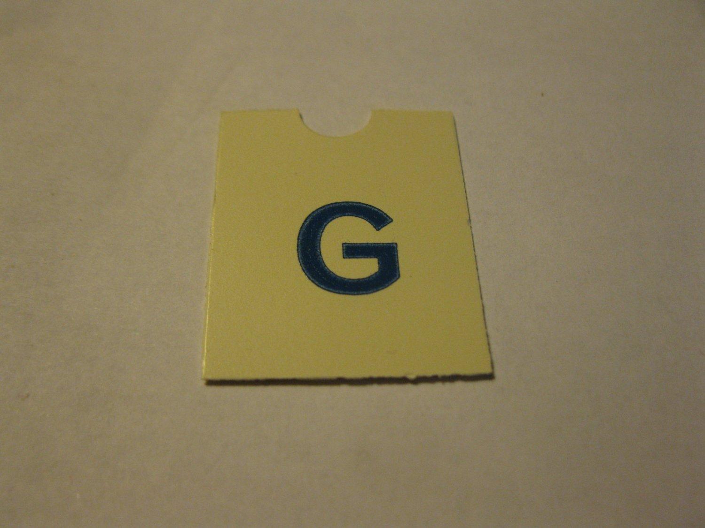 1967 4CYTE Board Game Piece: Blue Letter Tab - G