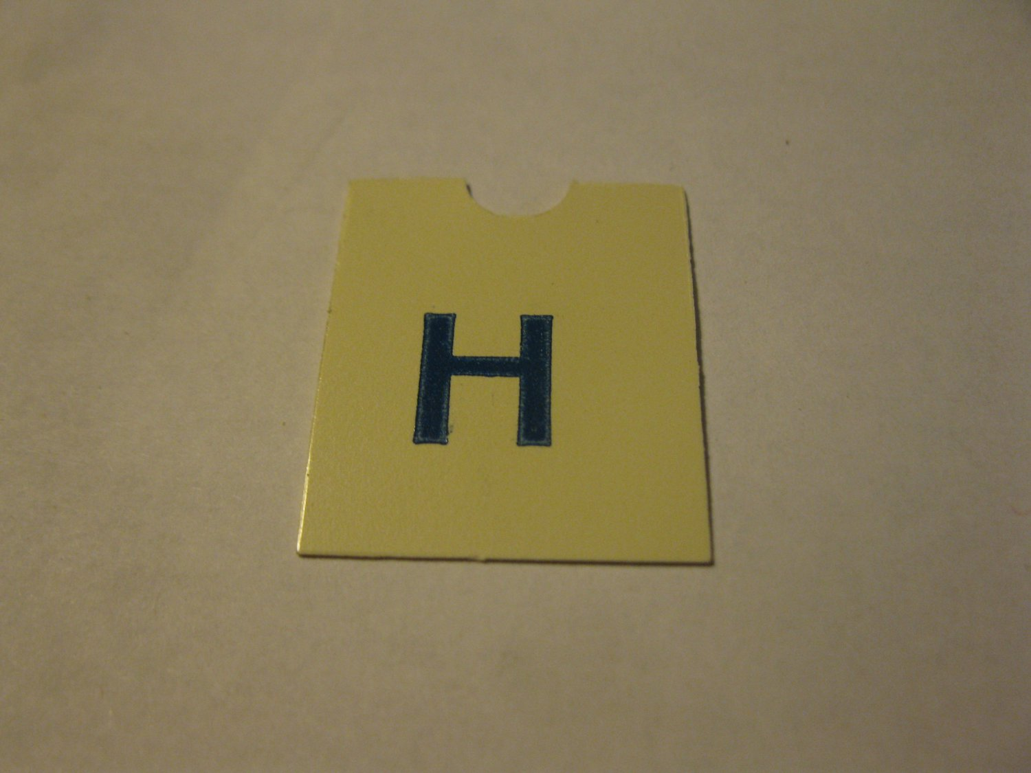 1967 4CYTE Board Game Piece: Blue Letter Tab - H