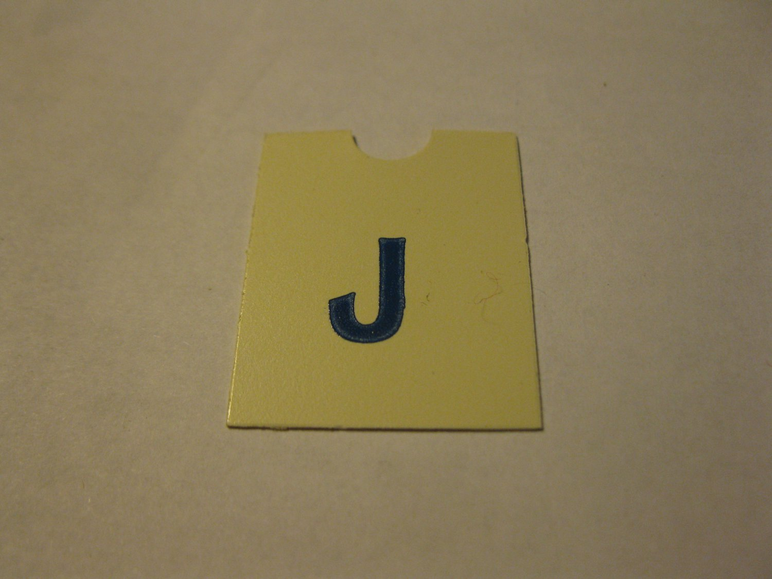 1967 4CYTE Board Game Piece: Blue Letter Tab - J