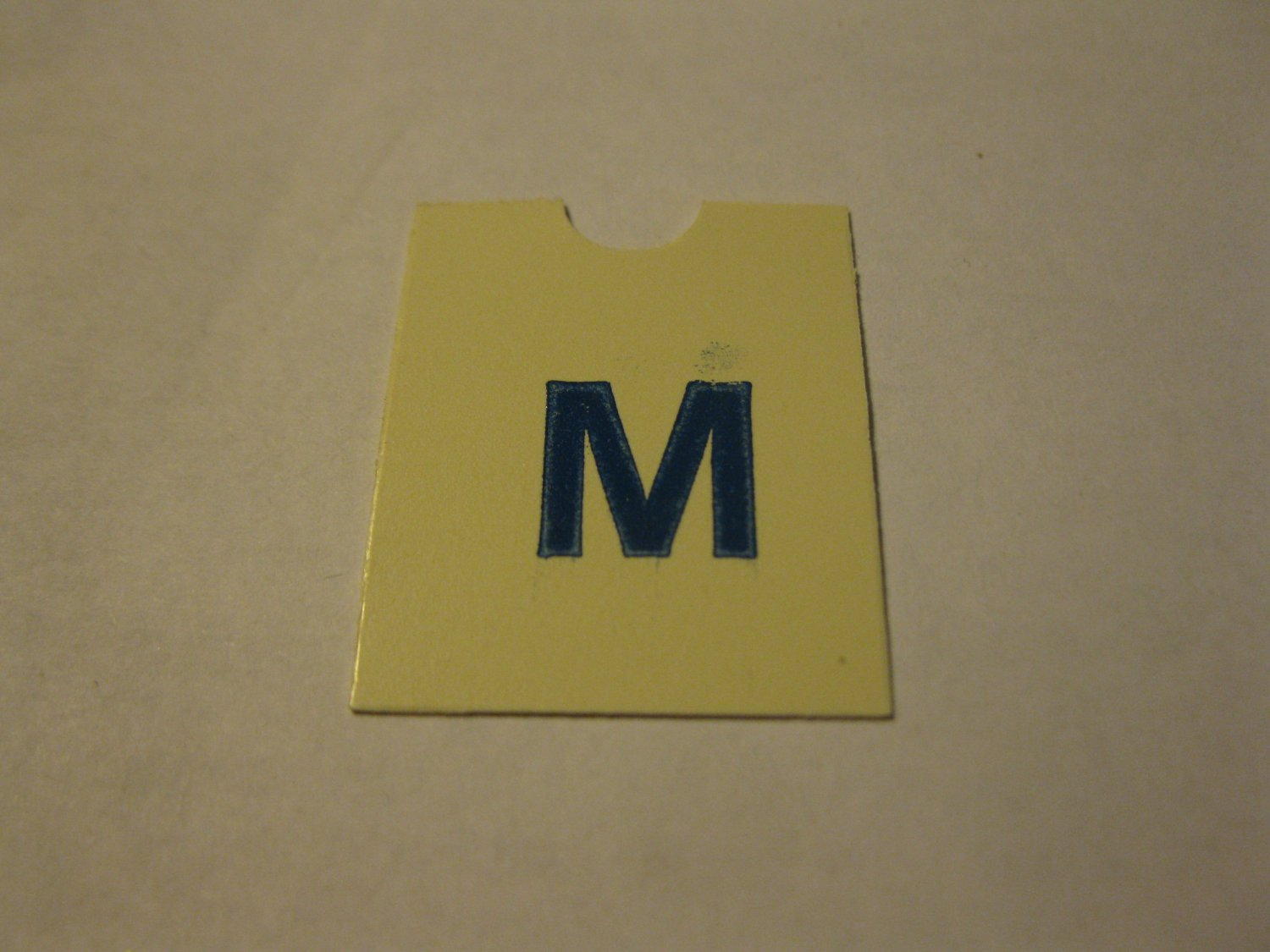 1967 4CYTE Board Game Piece: Blue Letter Tab - M