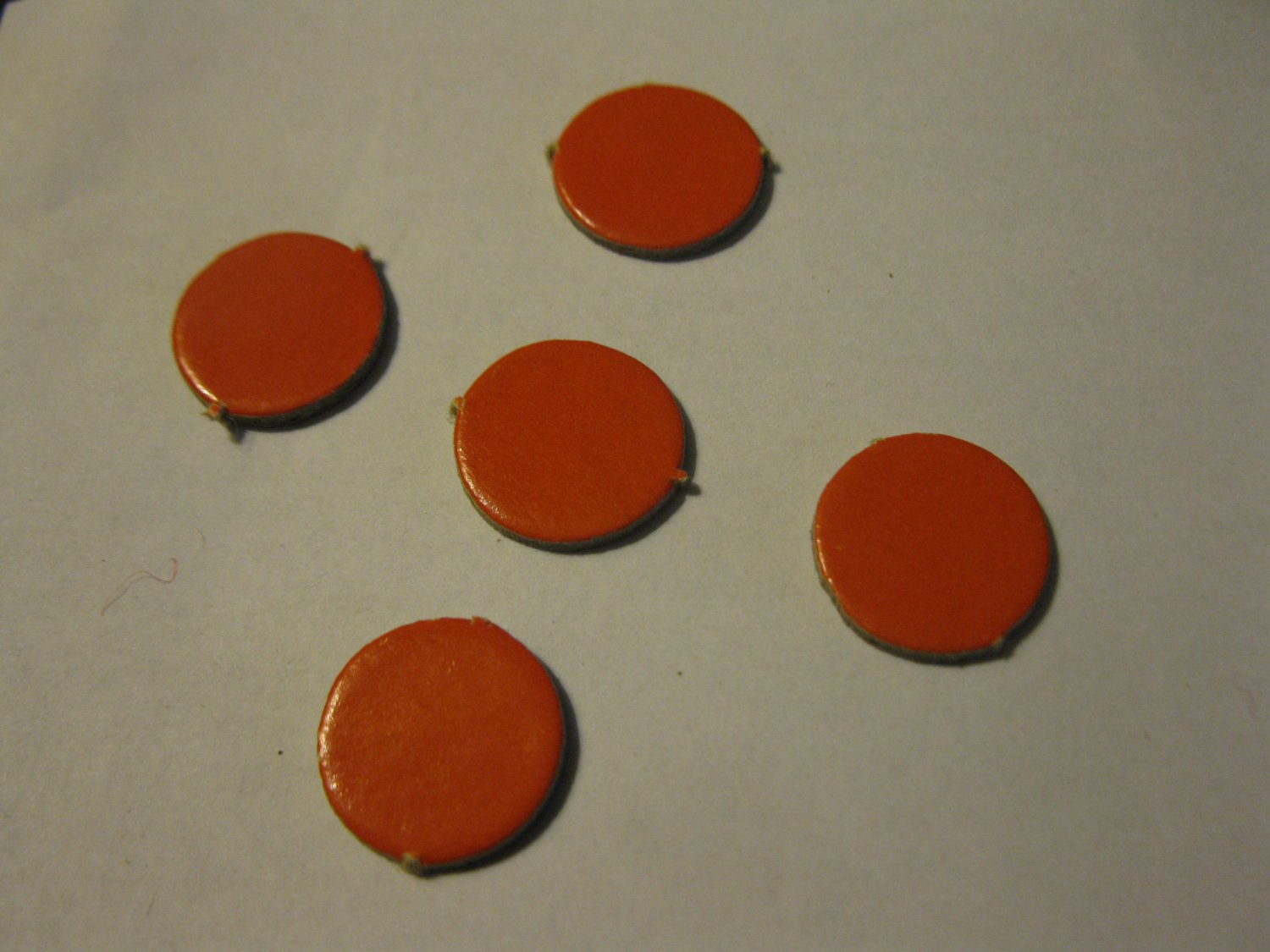 1967 4CYTE Board Game Piece: LOT OF (5) RED CIRCLE MARKER TABS