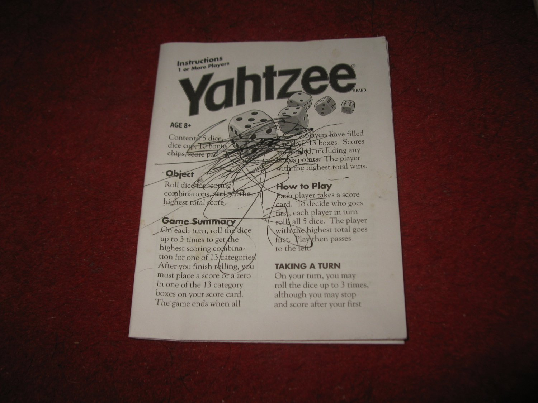 2004 Yahtzee Board Game Piece: Scorepad - instruction booklet - has pen marks