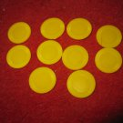 2004 Yahtzee Board Game Piece:  set of 10 Yellow Game Chips