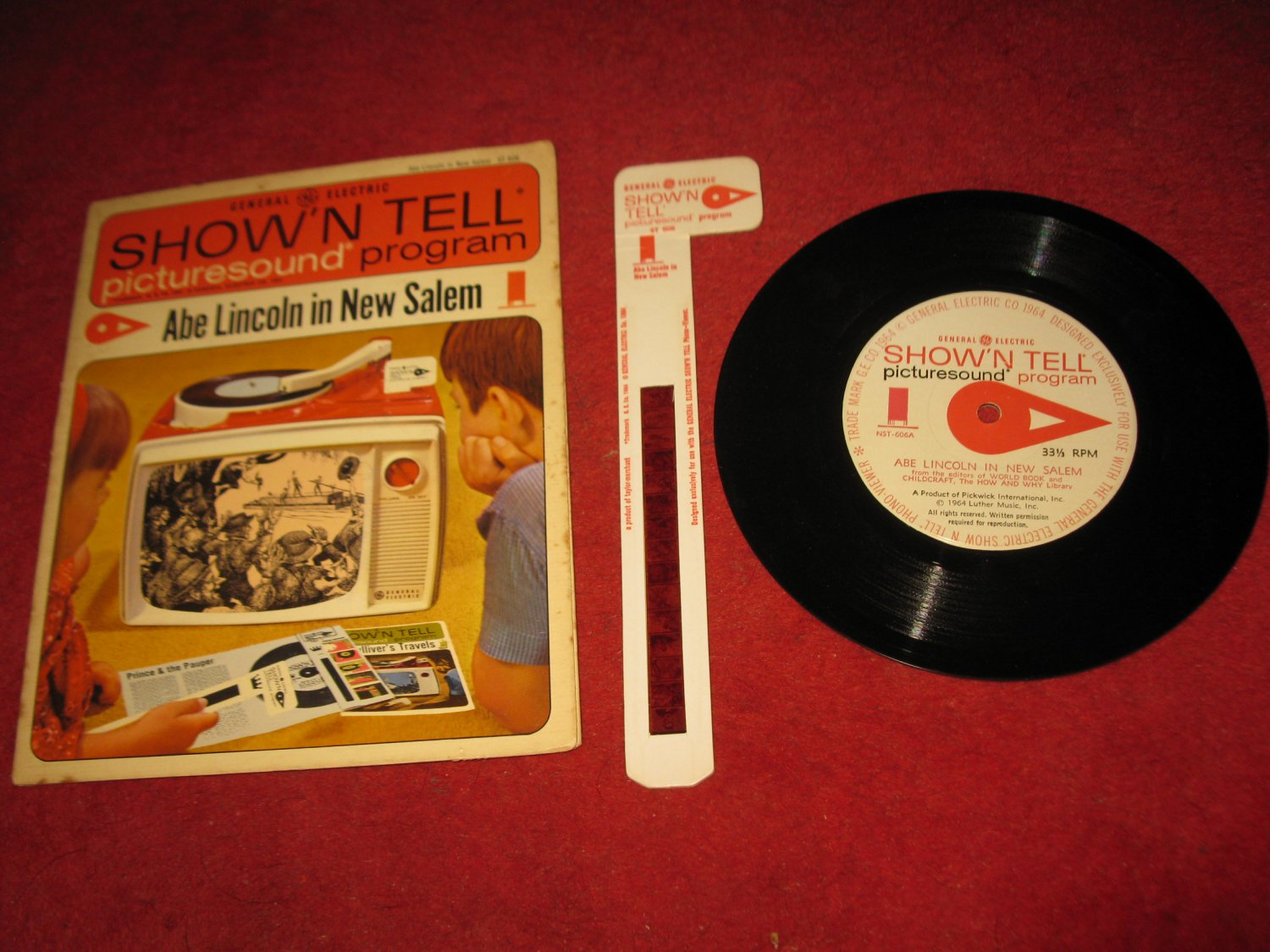 vintage 1964 GE Show 'N Tell Record and Film Cel Set #ST-606 - Abe :Lincoln in New Salem