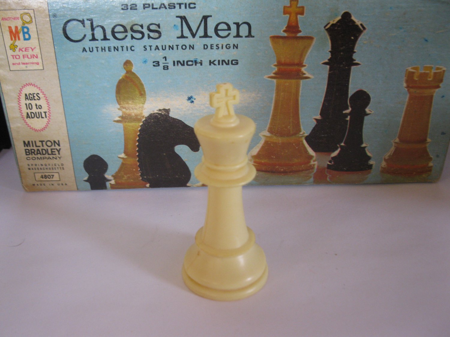 1969 Chess Men Board Game Piece: Authentic Stauton Design - White King