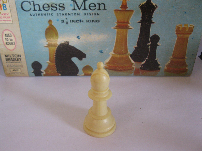 1969 Chess Men Board Game Piece: Authentic Stauton Design - White Bishop