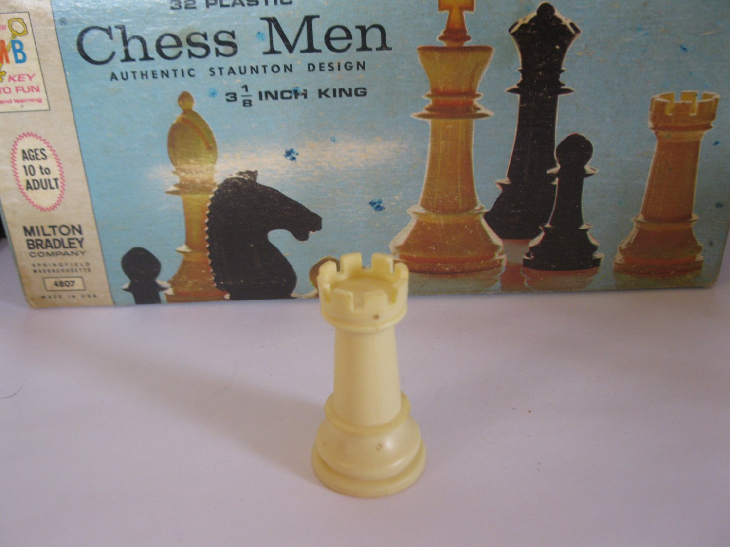 1969 Chess Men Board Game Piece: Authentic Stauton Design - White Rook