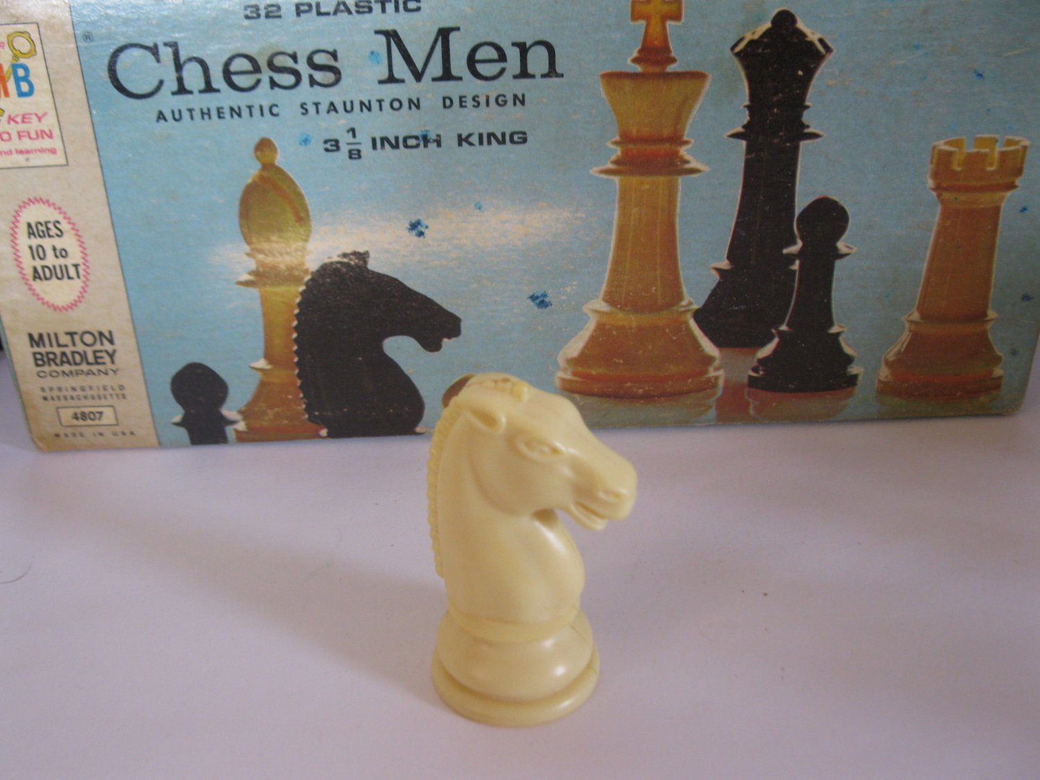 1969 Chess Men Board Game Piece: Authentic Stauton Design - White Knight
