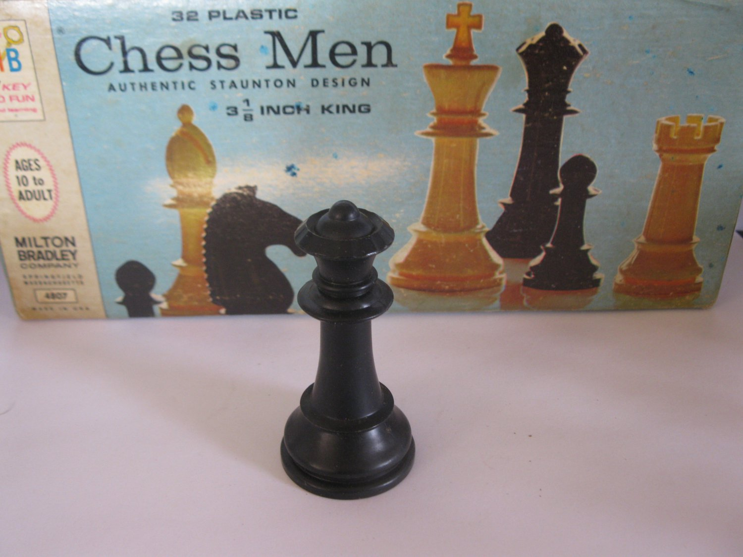 1969 Chess Men Board Game Piece: Authentic Stauton Design - Black Queen