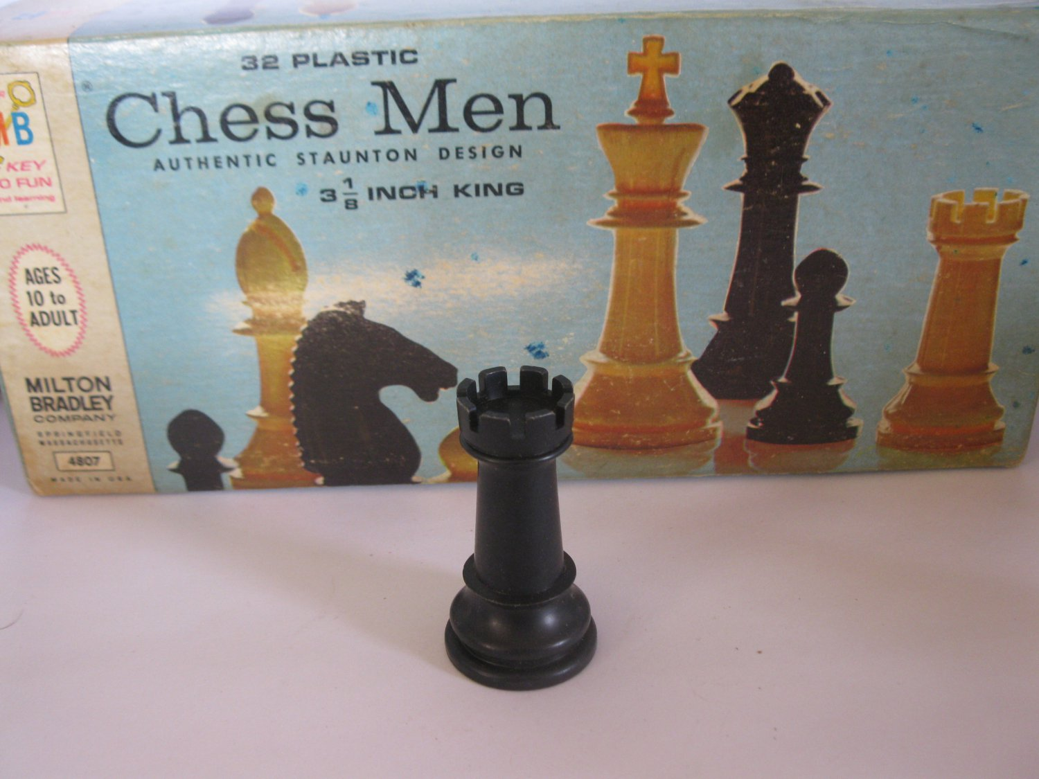 1969 Chess Men Board Game Piece: Authentic Stauton Design - Black Rook