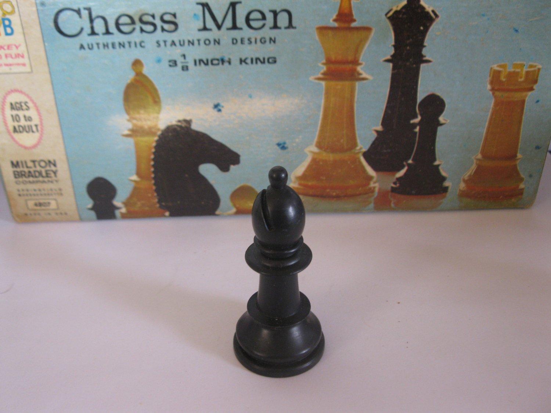 1969 Chess Men Board Game Piece: Authentic Stauton Design - Black Bishop