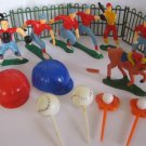 vintage 1950's? set of Sports Themed Palstic Cake Toppers. - Baseball team