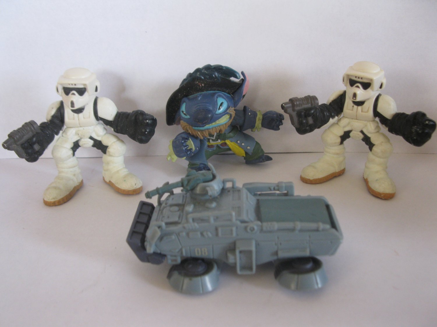cool set of Star Wars Galactic Heroes Storm Troopers, Stitch and other toys..
