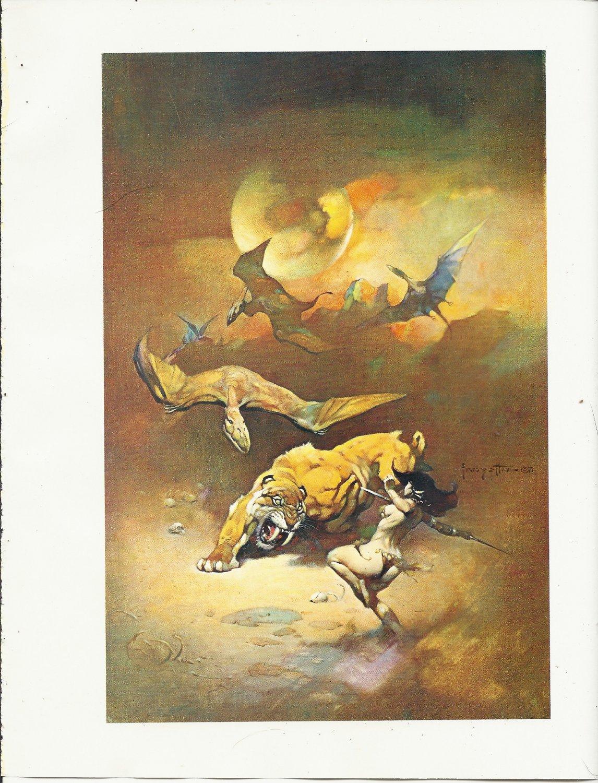 "vintage Frank Frazetta 11"" x 9"" Book Plate Print - Flying Reptiles"