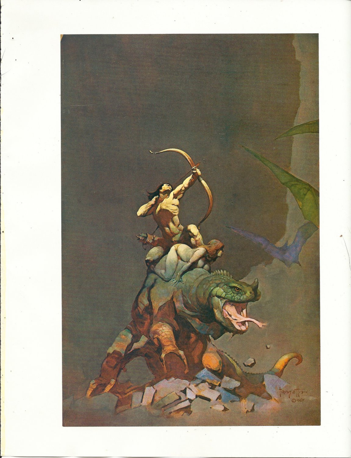 "vintage Frank Frazetta 11"" x 9"" Book Plate Print - Jongar Fights Back"
