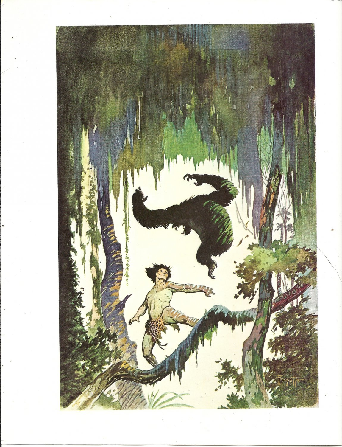 "vintage Frank Frazetta 11"" x 9"" Book Plate Print -Jungle Tales of Tarzan"