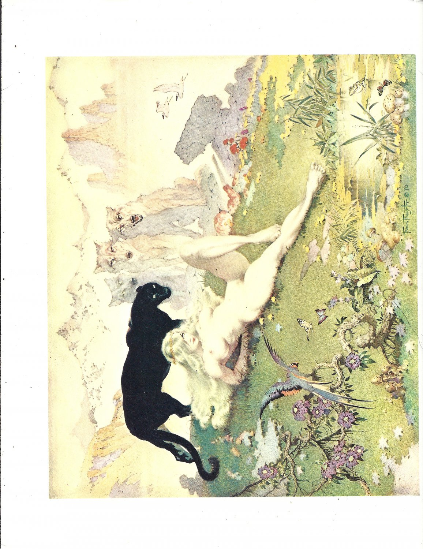 "vintage Frank Frazetta 11"" x 9"" Book Plate Print -Golden Girl"
