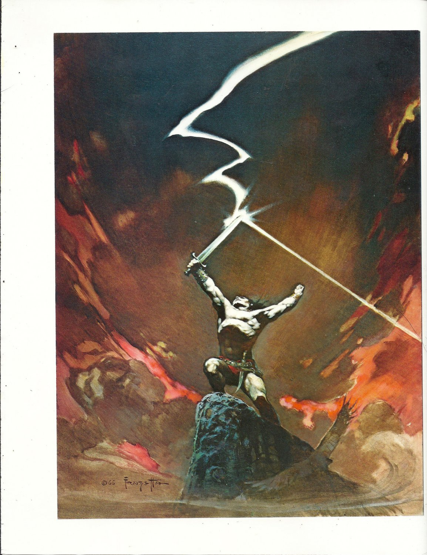 "vintage Frank Frazetta 11"" x 9"" Book Plate Print -Against the Gods"