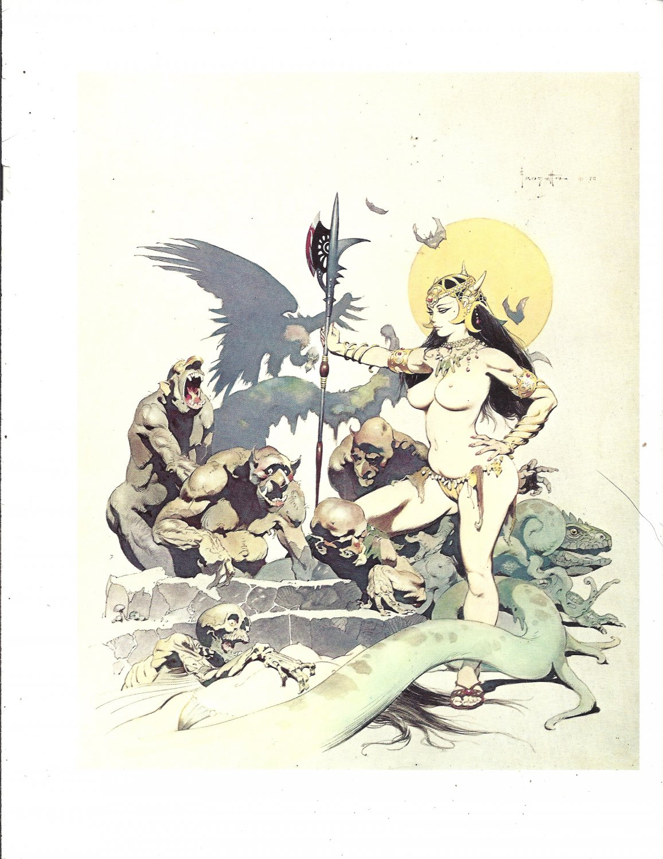 "vintage Frank Frazetta 11"" x 9"" Book Plate Print -Ghoul Queen"
