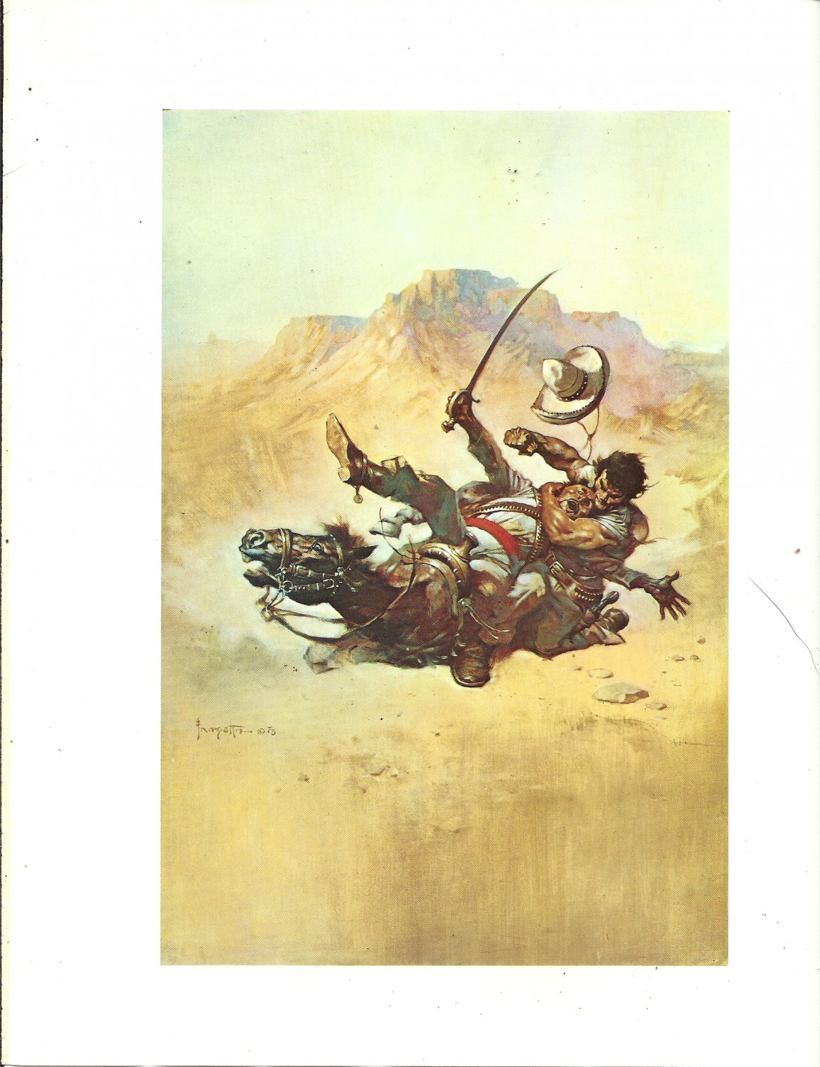 "vintage Frank Frazetta 11"" x 9"" Book Plate Print -The Return of the Mucker"