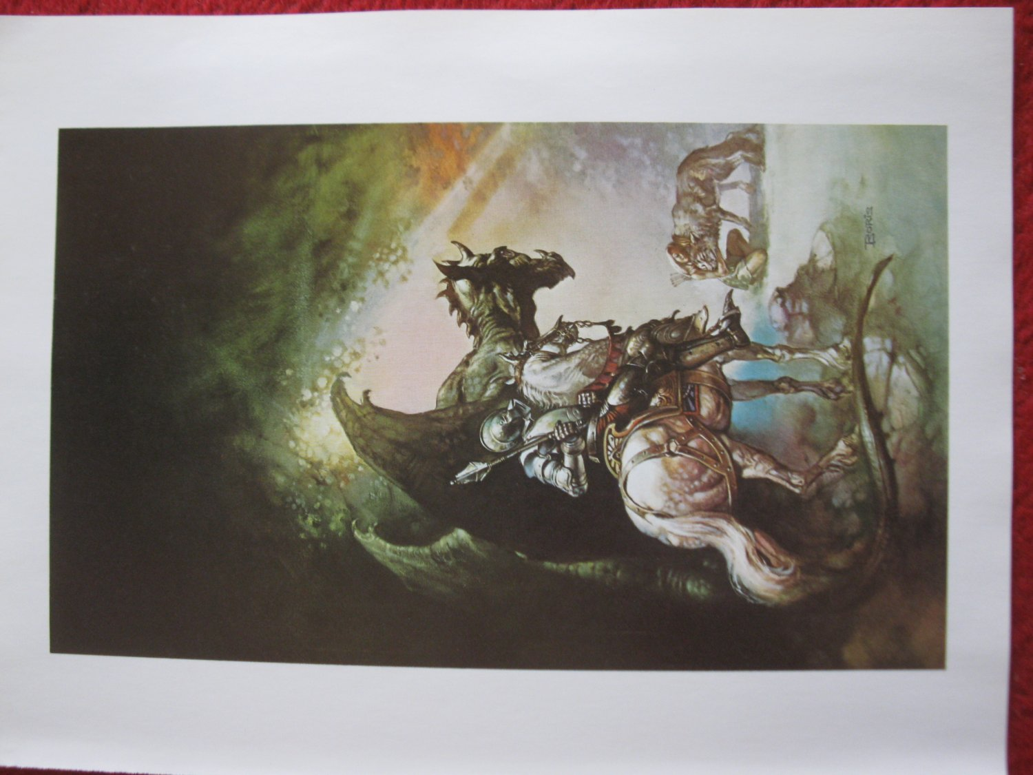 """vintage Boris Vallejo: The Dragon and The George - 11.5"""" x 8.5"""" Book Plate Print"""