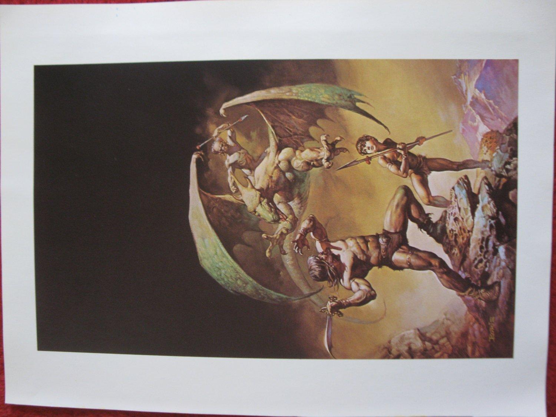 """vintage Boris Vallejo: Conan of Aquilonia - 11.5"""" x 8.5"""" Book Plate Print"""