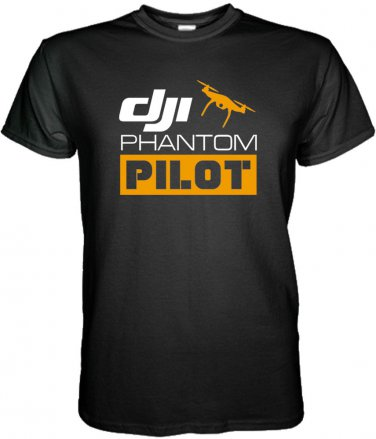 NEW DJI PHANTOM PILOT BLACK WHITE T Shirt DJI DRONE  S M L XL 2XL 3XL