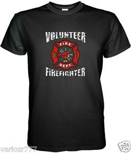 Volunteer Firefighter Black TShirt Size S M L XL 2XL 3XL