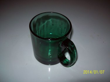 Beautiful Vintage Depressed Forest Green Cup/Mug 4 in Tall