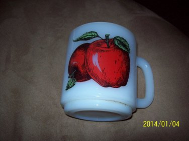 Vintage Glasbake Coffee Mug with Apple Design Decal Heat Resistant