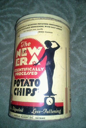 Vintage 60s The New Era Potato Chips Tin Can Detroit, Chicago and Pittsburg