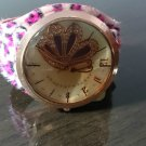 Bling Butterfly Wide Leather Strap Quartz Wrist Women Chic Fashion Watch Leopard