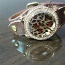 Bling Diamond  Leather Strap Quartz Wrist Women Chic Fashion Watch Leopard Print