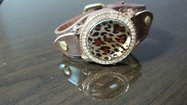 Bling Diamond  Leather Strap Quartz Wrist Women Chic Fashion Watch Leopard Print